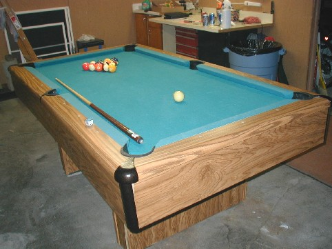 Our FREE Pool Table in our garage, Fort Dodge Iowa - April 2004