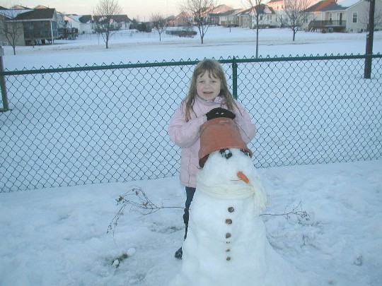 Sianna and her snow-man, 24 January 2005