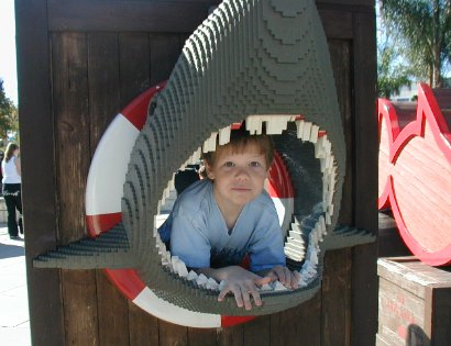 Nathan in the shark's mouth at LEGO Land - 18 December 2003