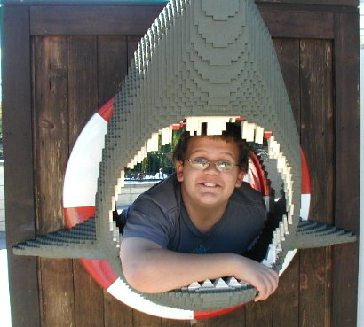 Daniel in the sharks mouth at LEGO Land - 18 December 2003
