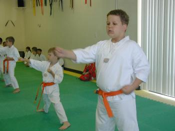 Daniel & Nathan, getting ready for their belt test - 20 April 2002