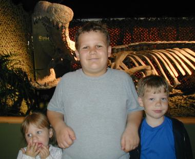 Sianna, Daniel & Nathan  -  by the 'Super Croc' at the Wild Animal Park